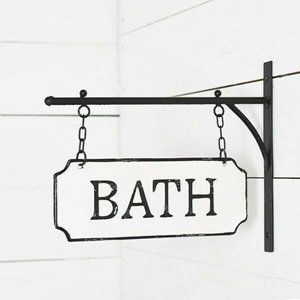 Wall Bath Tin Placard Hanging Sign
